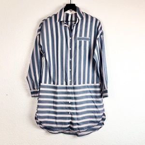 Gilligan & O'Malley Sleep Shirt Button Stripes XS